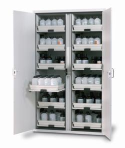 Шкафы для хранения кислот и щелочей SL-CLASSIC с двустворчатыми дверями, Шкаф для хранения кислот и щелочей SL.196.120.MV, 12 выдвижных полок