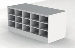 Скамейки для сидения, меламин, серый, 600 мм, Двухсторонняя версия, 15 отсеков с каждой стороны, 1360 мм, 600 мм