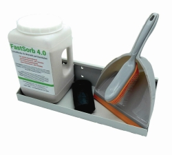 Абсорбент, связывающее для масла и химикатов FastSorb 4.0, Настенный кронштейн вкл. ручнаую щетку, с резиновой щетиной, лопата, полиэтиленовый пакет и монтажный комплект, без FastSorb 4.0