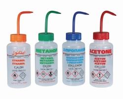 Безопасные бутылки для промывки, с клапаном сброса давления, ПЭНП, синий, 500 мл, Изопропанол, RU/PL/D/UK, 500 мл