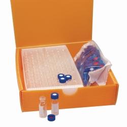 LLG-2в1 комплекты виал с обжимным горлом ND11 (широкое отверстие), янтарные, поле для маркировки, обжимная крышка, серебристая, с отверстием, резина (красно-оранжевый) /TEF (прозрачный)